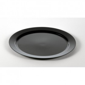 Large black plastic disposable round dish for catering