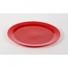 Large red disposable plastic round catering dish