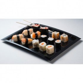 Arc black plastic tray for catering