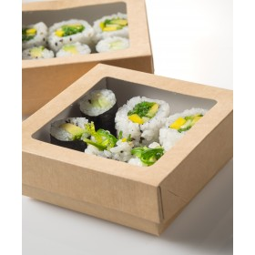Disposable kraft box sushi with window lid