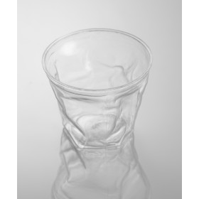 Transparent small crumpled disposable cup