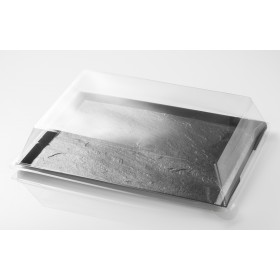 Black slate tray withTransp. Lid 270x185x10 mm