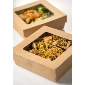 Disposable medium size kraft sushi box with lid with window