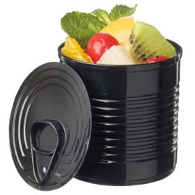 Black plastic tin can 110 ml