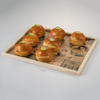 Take away wooden tray with lid 325x265x10 mm