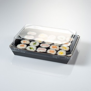 Safata de cartró per a sushi amb tapa inclosa 225x155x30 mm
