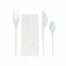 Pack 4 cutlery: fork, knife, spoon and napkin
