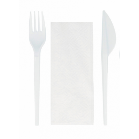 Pack 3 cutlery: fork, knife and napkin