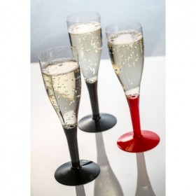 Plastic cup for drinking champagne black foot for catering 180 ml