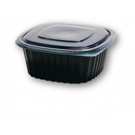 High Cover Food container PP black 700 ml.