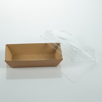 Cardboard sushi tray with lid 130x65x30 mm