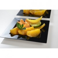 Black squared plastic dish single use for catering